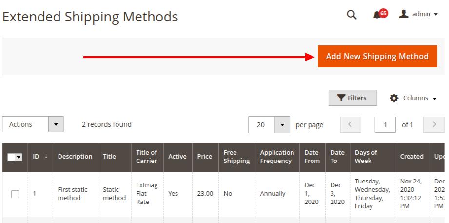 List of Shipping Methods