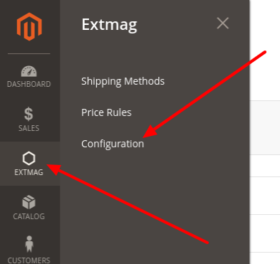 Extended Shipping Rates configuration link in menu