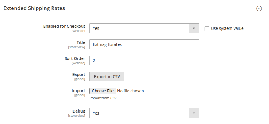 Extended Shipping Rates configuration