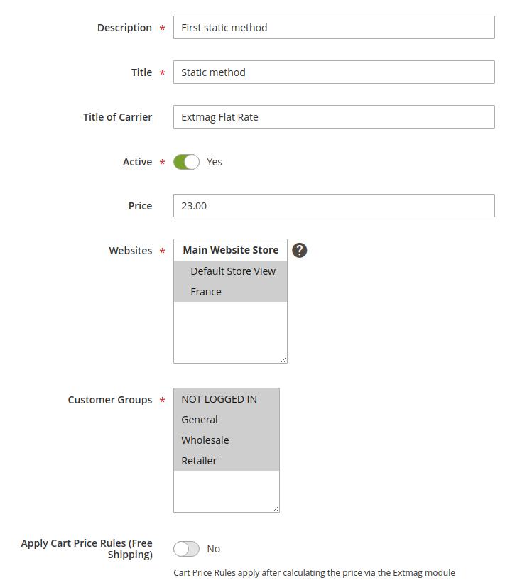 Creating or editing Shipping Method